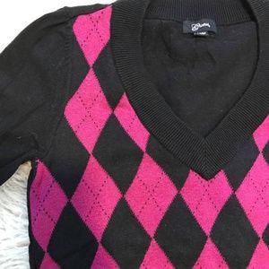 Guess Pink & Black Argyle Sweater